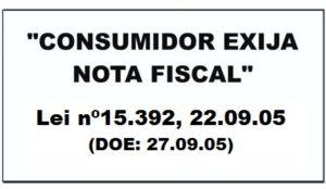 Exigência de nota fiscal 40cm x 20cm