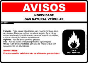 adesivo Periculosidade GNV 31cm x 22cm