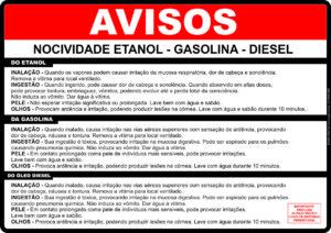 adesivo Periculosidade_Etanol_Gasolina_Diesel - 31cm x 22 cm
